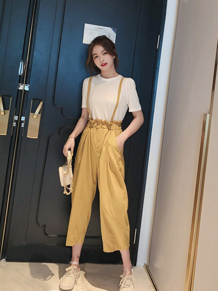 Capri Bud Suspender Pants WOMEN'S Suit Summer 2019 New Products-Style Suspenders Short Sleeve Knitted T-shirt Women's Two-Piece