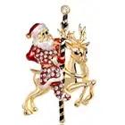 20 шт./лот, бесплатная доставка, Женский Рождественский Санта Клаус и олень, стразы, брошь с орнаментом