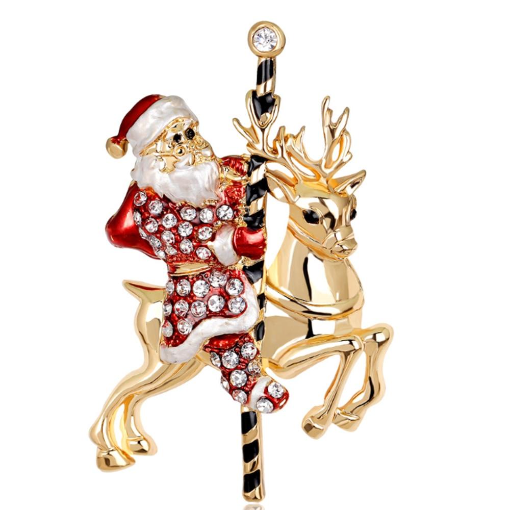 20 teile/los Freies Verschiffen frauen Frohe Weihnachten Weihnachten Santa Claus & Hirsch mit Strass Ornament Brosche Pin