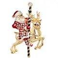 20 unids/lote envío gratis mujer feliz Navidad Santa Claus y ciervo con adornos de diamantes de imitación broche Pin