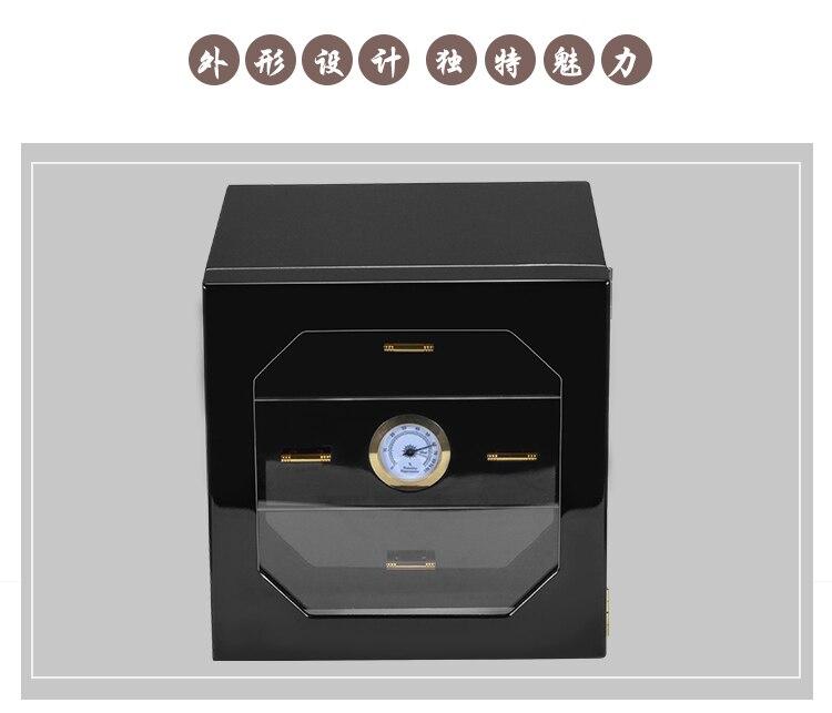 Zwarte kast sigaar humidor hoogwaardige meerdere lak cederhout 3 sigaret opbergdoos case aansteker Met Hygrometer - 4