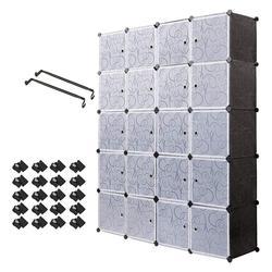 20 큐브 주최자 쌓을 수있는 플라스틱 큐브 스토리지 선반 다기능 모듈 형 옷장 캐비닛 침실 거실 c03