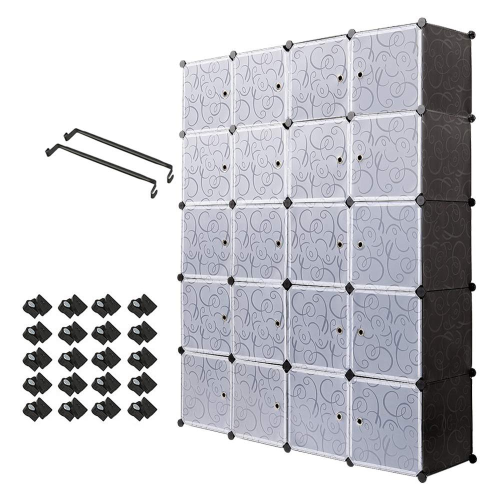 20 Cube Organizer Stackable Plastic Cube Storage Shelves Multifunctional Modular Closet Cabinet Bedroom Living Room C03