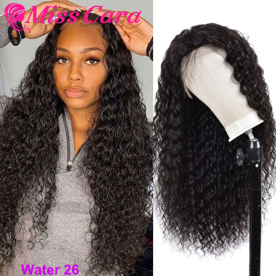 100% Human Hair Wigs For Women Peruvian Water Wave Pre-Plucked Lace Frontal Wig 180% Density With Baby Hair Miss Cara Remy Wigs