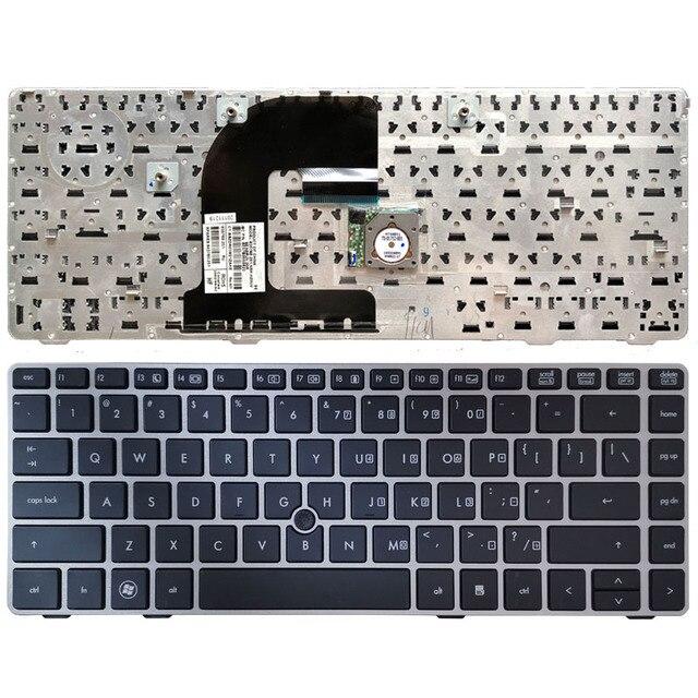 Клавиатура для ноутбука HP EliteBook 8470B 8470P 8470 8460 8460p 8460w ProBook 6460 6460b 6470 с серебристой рамкой