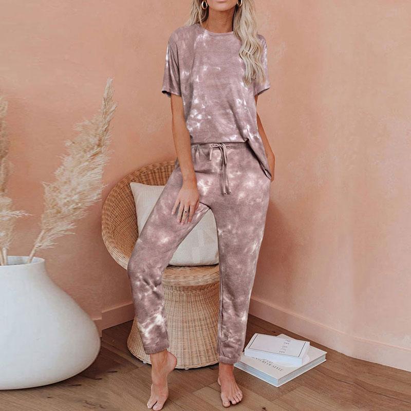 2020 Summer Lounge Wear Homewear Women Gradient Color Pajama Set Home Wear Suit Women Sleep Wear Lounge Set Top And Pants
