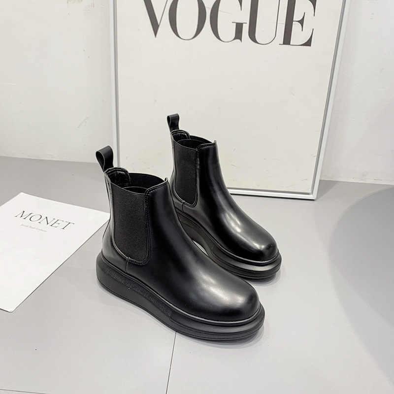 Marka Tasarımcısı deri çizmeler kadın elastik bant chelsea kauçuk platform botines mujer 2019 bayanlar kış peluş sürüngen martin kar botas sıcak ayakkabı