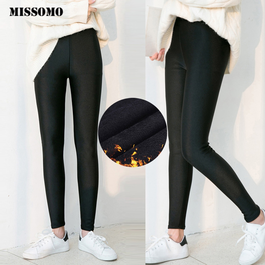 MISSOMO 6XL High Waist Pants Women Stretch Casual Thick Skinny Winter Warm Elastic Leggings Trousers Women Pencil Pants Velvet