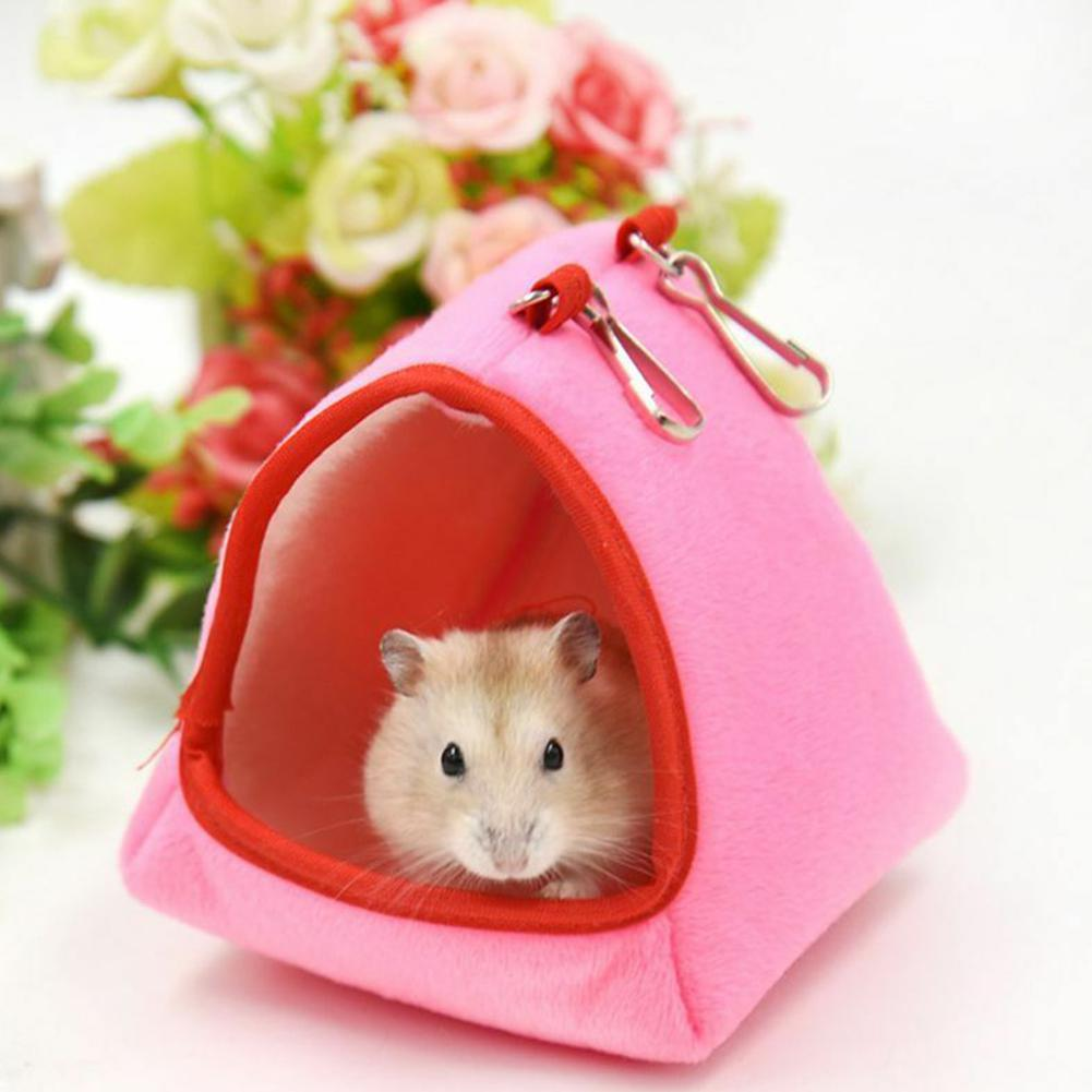 Cute Pink Hamster Hanging House Hammock Cage Sleeping Nest Pet Bed Rat Hamster Toys Cage Swing Pet Banana Design Small Animals(China)