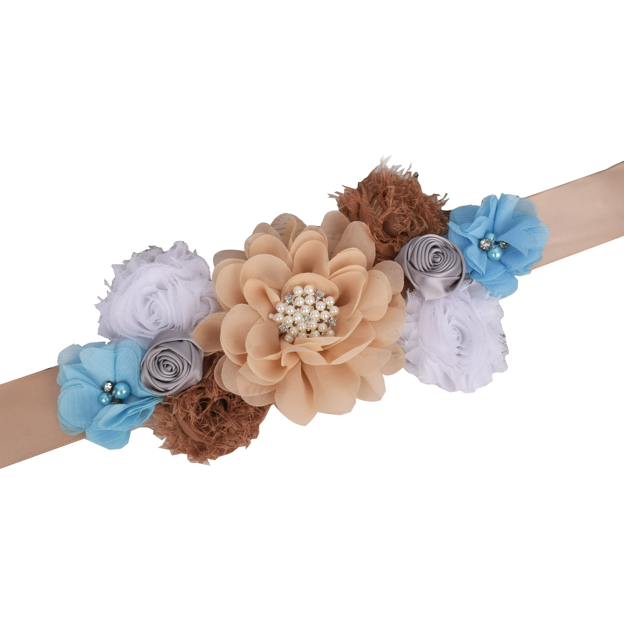 Theeper Woman Vintage Sash Wedding Fancy Waistband Maternity Sash Pregnancy Belly Belt Baby Shower Party Flower Sash Photo Prop