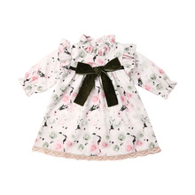 Girl Dress Flower Girl Princess Dress Toddler Kids Baby Ruffles Long Sleeve Print Party Wedding Pageant Floral Dress long sleeve floral print mini swing dress
