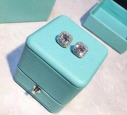 TSHOU158 креативная мода квадратный кристалл TIFF серебряные серьги 925 пробы индивидуальность цвет серьги