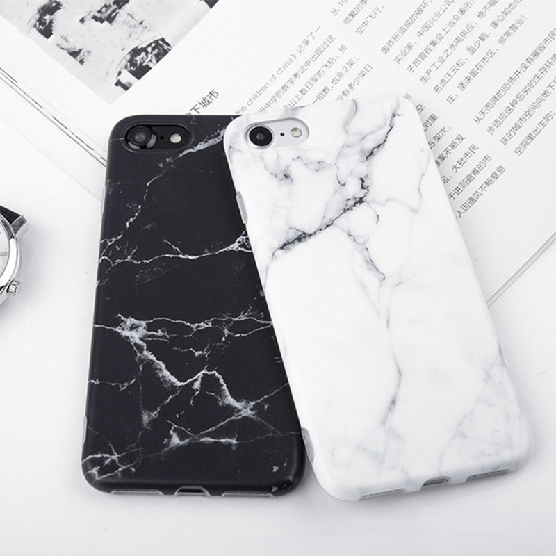 Imd Marble Stone Gel Case for Apple iPhone 7 6s 6 8 Plus 5 5s SE X 10 XR XS Max Cases Black White Soft Squishy phone Case(China)