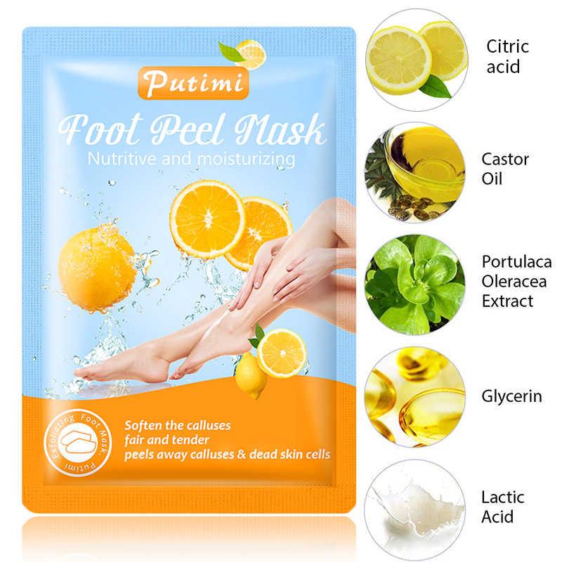 PUTIMI 3 Paar Peeling Fuß Maske für Beine Bleaching Tote Haut Entferner Fuß Peeling Maske für Pediküre Socken Feuchtigkeit Fuß patch