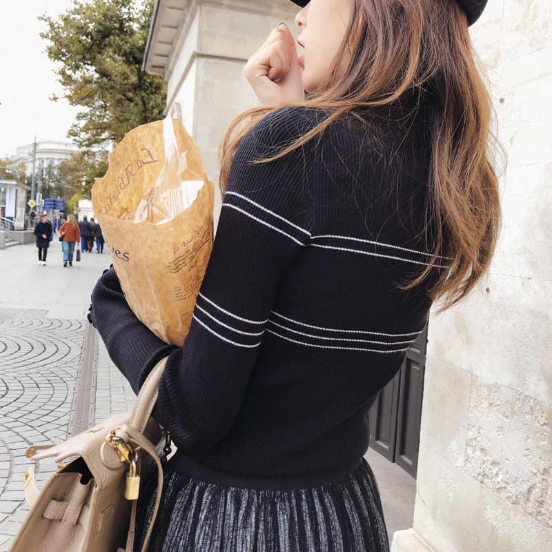 Mishow Sweater 2018 Rajutan Bottoming Lengan Panjang Solid Pullover Wanita Bergaris Jumper Autum Musim Dingin Rajut Atasan MX18D5136