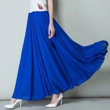 Бренд корейские Демисезонные женские плиссированные гофрированные длинные макси юбки, большие размеры богемные шифоновые юбки 5XL 6XL 7XL осенние юбки