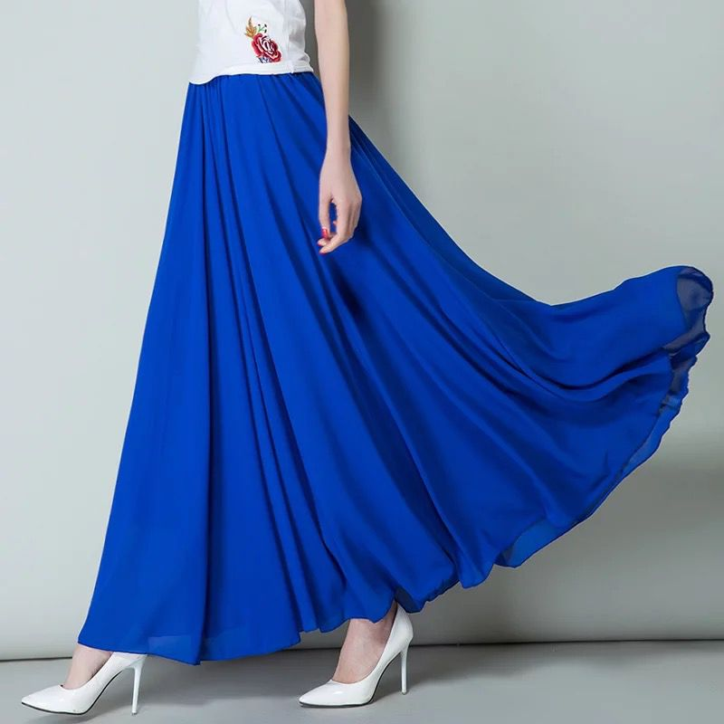 Brand 2019 Spring Summer Korean Women Pleated Ruffle Long Maxi Skirt ,plus Size Bohemia Chiffon Skirts 5XL 6XL 7XL Autumn Skirts