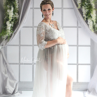 High Quality Beautiful V Neck Embroidered Tulle Long Maxi Gown Pregnancy Dress for Maternity Photography Props