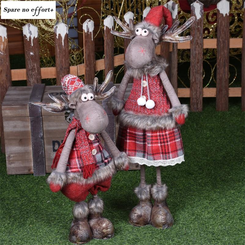 Выдвижной натальный олень кукла Рождественское украшение Navidad Статуэтка Новогодняя лося игрушки Детский подарок на Рождество елочные укра...