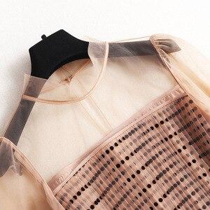 Image 2 - فستان نسائي موضة 2020 من AELESEEN مزود بحزام شفاف وأكمام طويلة مناسبة للربيع والخريف فستان طويل بطيات