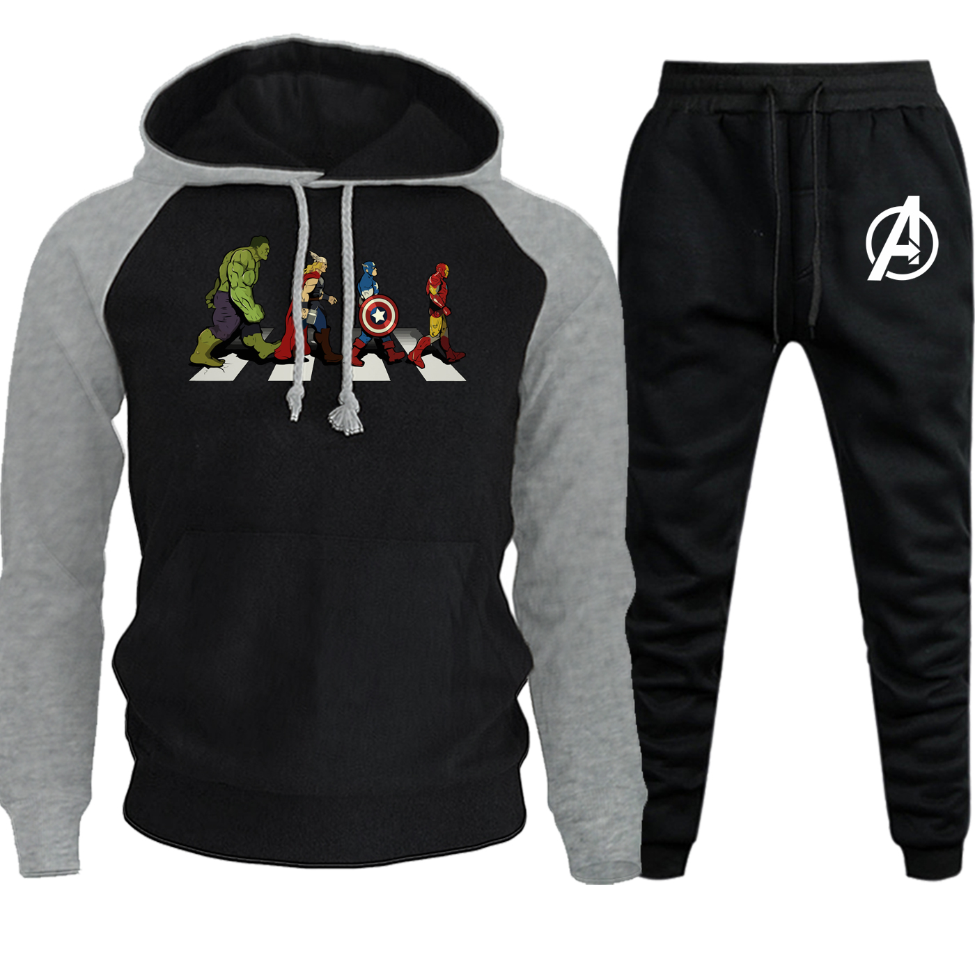 The Avengers Hoodies Men Raglan Sweatshirts Hot Sale Autumn Winter Suit Casual Pullover Hip Hop Suit Hooded+Pants 2 Piece Set