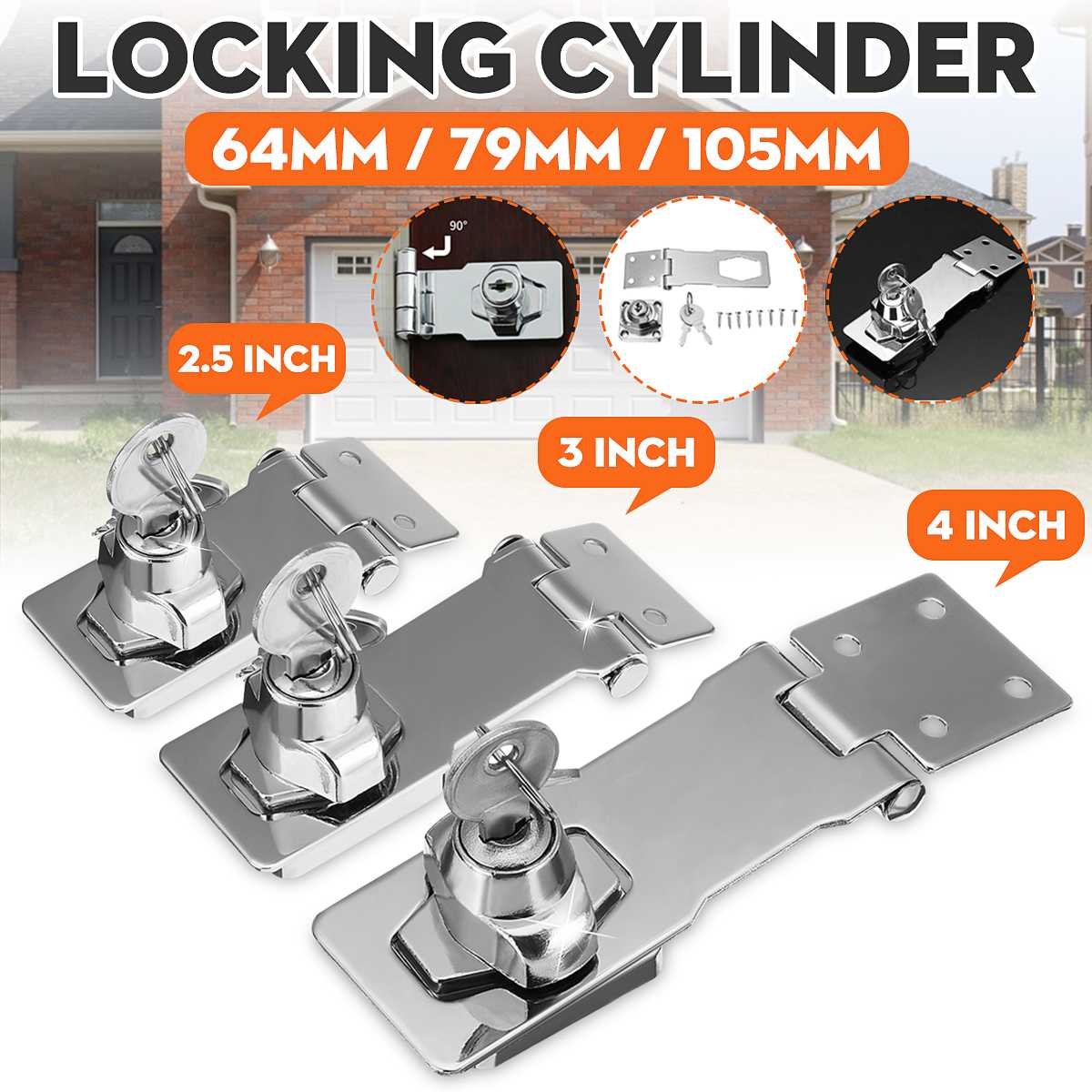 2.5/3/4 Inch Zinc Alloy Garage Shed Gate Door Hasp Lock Staple Security Key Locking Burglar-proof Hardware