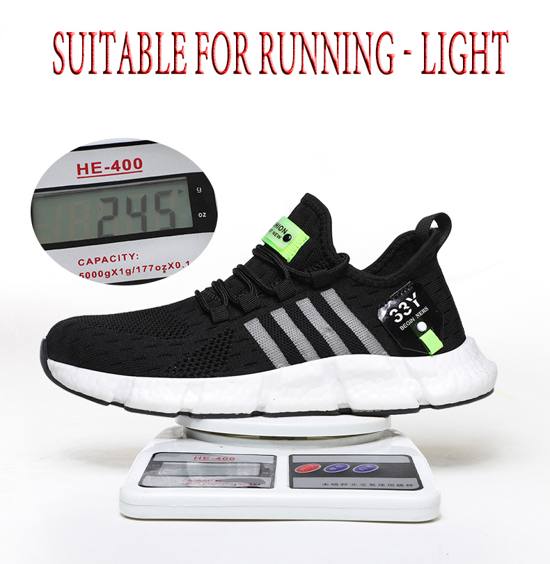 Running shoes men s lightweight casual mesh breathable fluorescent green comfortable jogging summer large size white