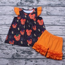 цены Dropshipping Infant Baby Girls Clothes Sets Cute 2PCS Halloween Pumpkin Tops And Shorts Clothing Outfits