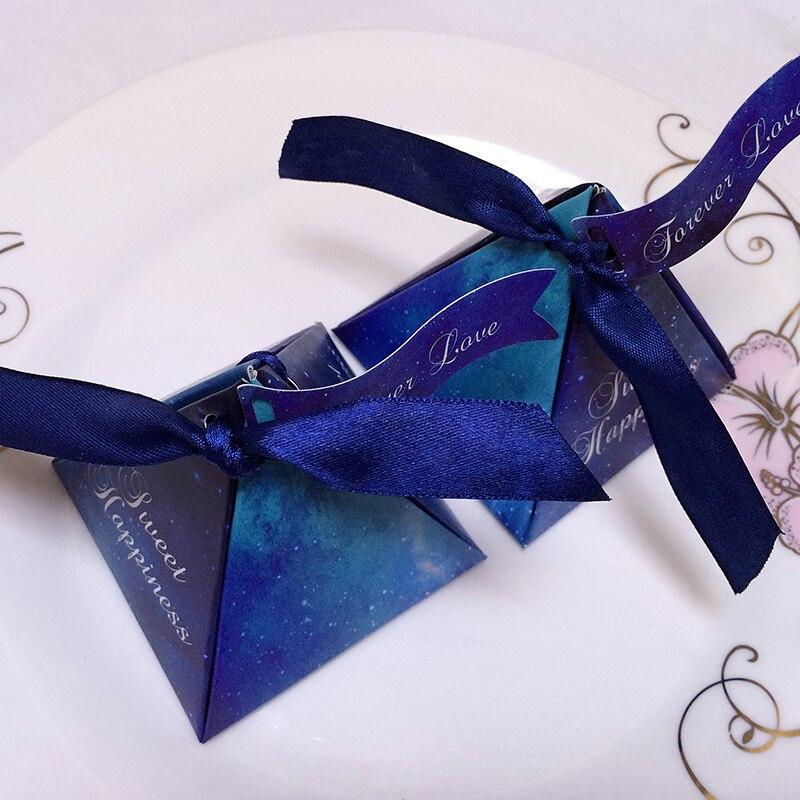 DHL gratis 200 Uds. Púrpura/Azul de moda estrella caja de caramelos de boda caja de dulces con tarjeta con cinta DIY especial caramelo regalo caja de suministros para fiesta - 3