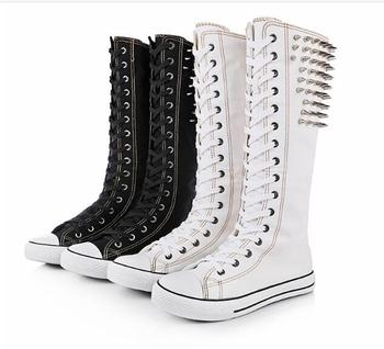 Girls skateboarding high top Rivet Bullet flat shoes ladies canvas boots student dancing women fashion skateboard casual sneakers