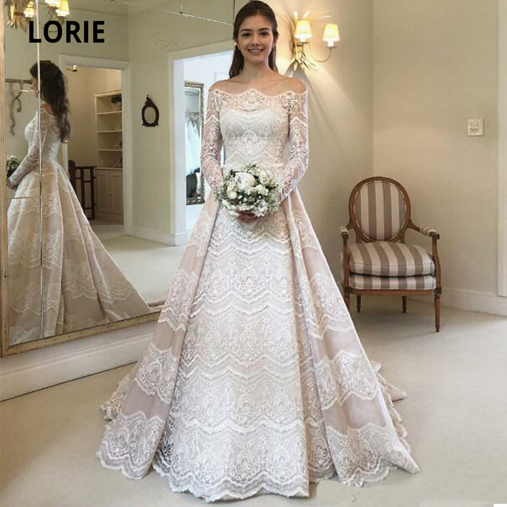 LORIE Off The Shoulder Bohemia Wedding Dresses Lace Appliques Long Sleeve Bridal Gowns A-line Princess Party Dresses Custom Made