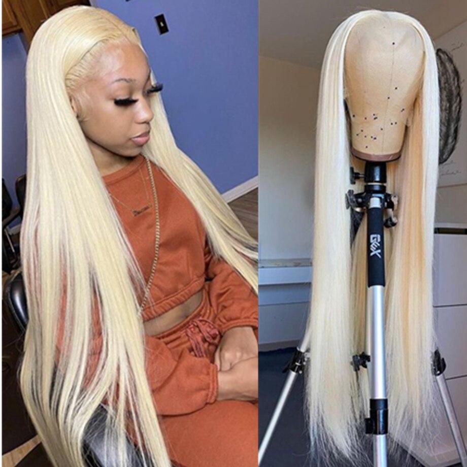 Парик со шнуровкой спереди 613, парики со шнуровкой спереди, парик блонд, прямые парики из человеческих волос спереди, бразильские волосы, кор...