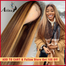 Ombre Highlight Human Hair Wig Brown Honey Blonde Colored 13