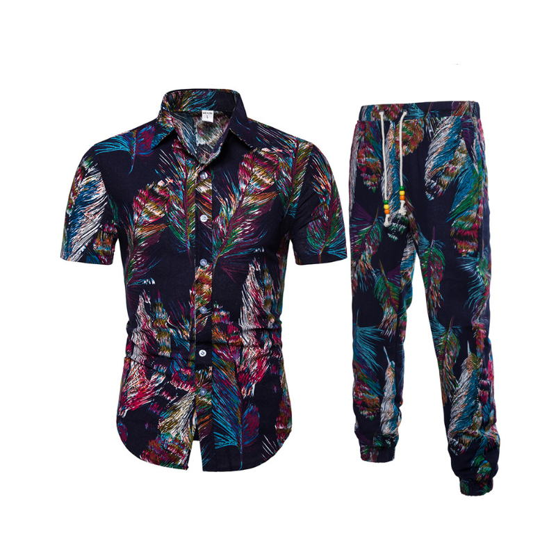 2019 Summer Fashion Floral Print Shirts Men trousers Set Men Short Sleeve Shirts Casual Men Clothing Sets Tracksuit Plus Size 3X in Men 39 s Sets from Men 39 s Clothing