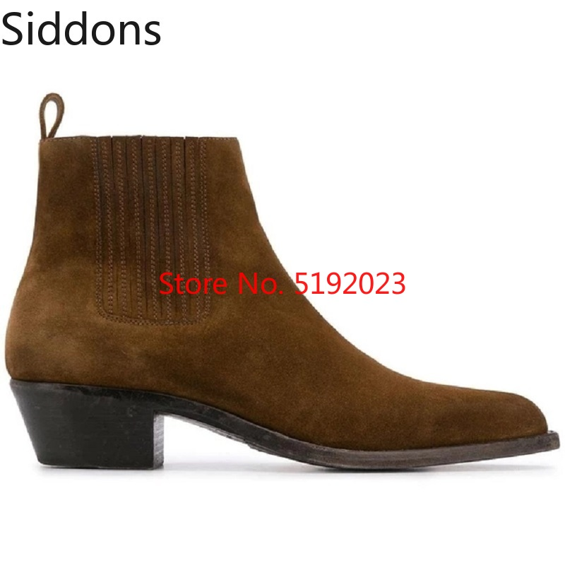 Winter Fashion Men Leather Chelsea Boots Suede Pointed Toe Ankle Dress Boots Male Casual Zapatos De Hombre D158