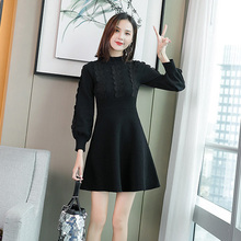 2019 Korean version of the new Lantern Sleeve Slim was thinning bottom winter knit dress Knee-Length  Regular