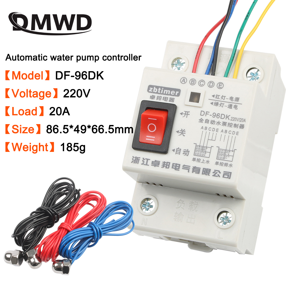 DF-96ED Automatic Water Level Controller Switch 10A 220V Water Tank Liquid Level Detection Sensor Water Pump Controller 2m Wires