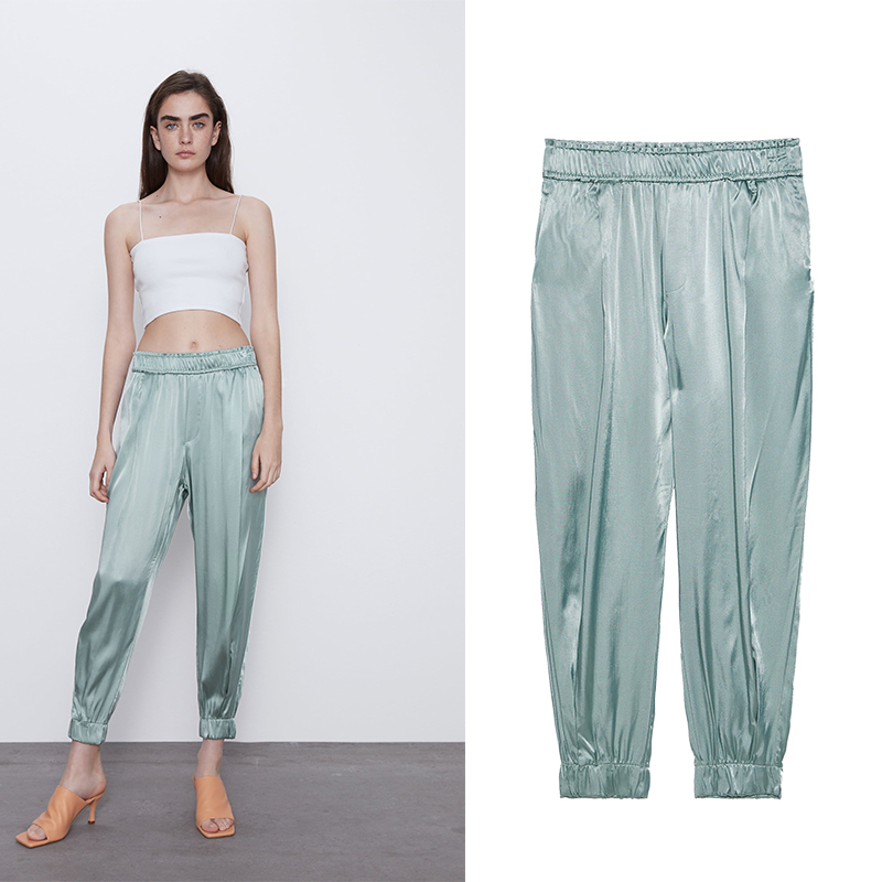 Za 2020 New Women Long Pants With High Wasit Harem Pant Solid England Casual Summer Ankle Length Silk Trousers