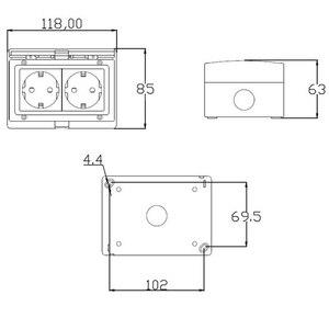 Image 3 - 壁ソケットeuデュアル電源アウトレット屋外電気schukoプラグpc外装防水パネルac 110〜250v 16A外バルコニー
