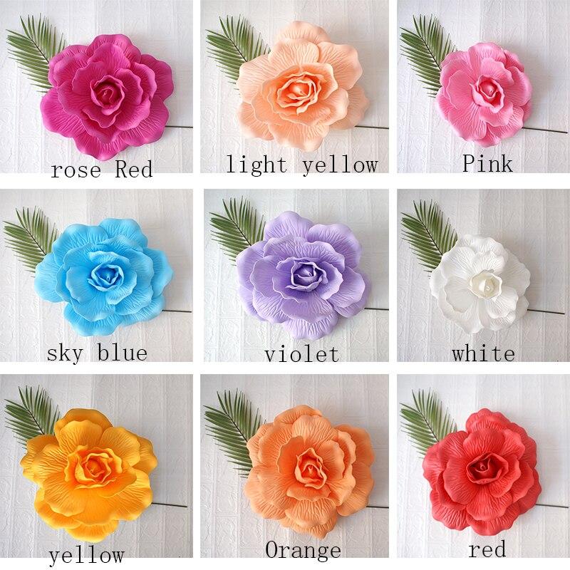 Купить с кэшбэком Giant PE Foam Rose Flat Bottom Rose Stereo Artificial flower Home decoration Fake Flowers Wedding Wall Background Decoration