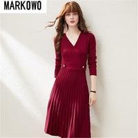 MARKOWO Desinger Brand 2020 Autumn and winter niche wool retro temperament slim V neck knitted pleated dress