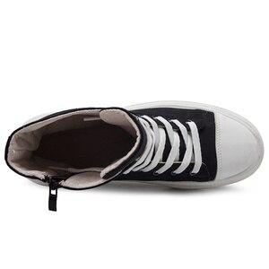 Image 5 - 秋男性カジュアルシューズキャンバス男性黒 Krasovki Tenis Hombre Fahsion Chaussures オム通気性ハイトップスニーカー男性トレーナー