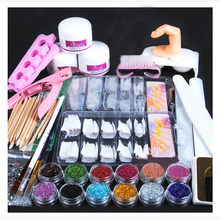 Volledige Nail Manicure Set Pro Acryl Kit Met Boor Machine Acryl Liquid Nail Lijm Glitter Poeder Nail Tips Nail Art tool Kit(China)
