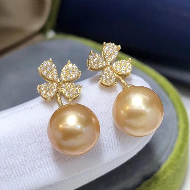 Fine Jewelry 1103 Pure 18 K Gold Natural Ocean Golden Pearls 8-9mm Stud Earrings for Women Fine Pearl Earrings 2