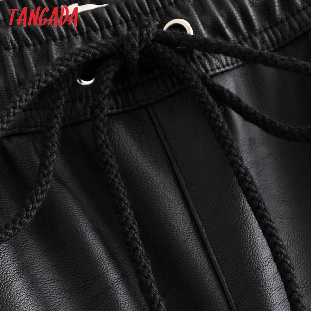 Tangada women black PU leather pants stretch waist drawstring tie pockets female autumn winter elegant trousers HY02 5