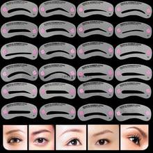 Venda quente 24 estilos de sobrancelha modelando estênceis aliciamento kit maquiagem modelador conjunto modelo ferramenta para mulheres beleza modelo