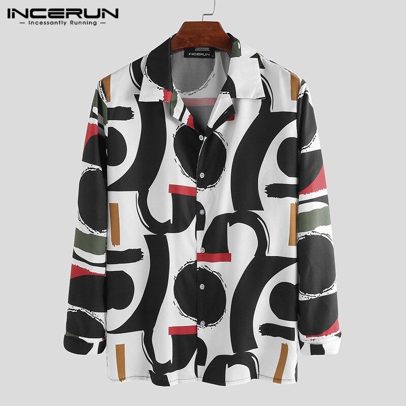 INCERUN Autumn Print Men Shirt Button Street Long Sleeve Breathable Stylish Casual Hawaiian Shirts Men Chic Chemise 2020 S-5XL