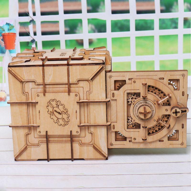 Image 4 - 3D Puzzles Wooden Password Treasure Box Mechanical Puzzle DIY Assembled ModelModel Building Kits   -