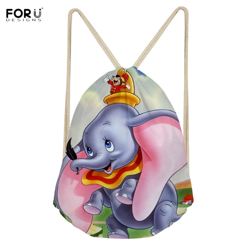 FORUDESIGNS Women Drawstring Bags Cartoon Elephant Print Casual Outdoor Beach Bags Folding Travel Storage Bag For Ladies Girls