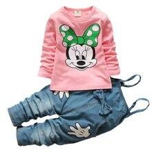 цена на Spring Baby Girls Minnie Clothing Set Toddler Children Overalls Denim pants +Blouse Full Sleeve Tops Suit Set Kids Clothes Set